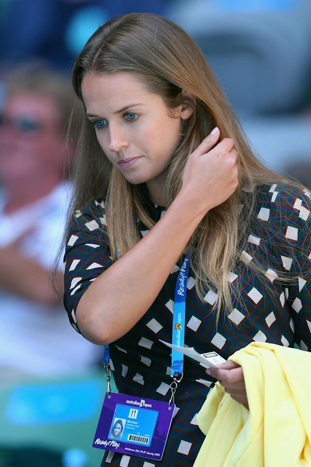MELBOURNE, AUSTRALIA - JANUARY 23: Kim Sears, girlfriend of Andy Murray of Great Britain, arrives to watch his Quarterfinal match against Jeremy Chardy of France during day ten of the 2013 Australian Open at Melbourne Park on January 23, 2013 in Melbourne, Australia. (Photo by Julian Finney/Getty Images)