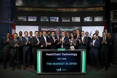 Patrick Gray, CEO HashChain Technology Inc. (KASH) opens the TSX Venture Exchange market. (CNW Group/HashChain Technology Inc.)