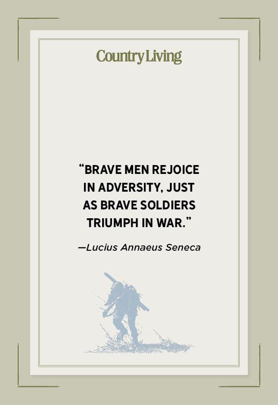 """<p>""""Brave men rejoice in adversity, just as brave soldiers triumph in war.""""</p>"""