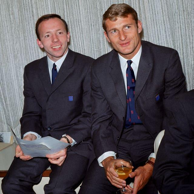England's Nobby Stiles and Hunt pictures in their World Cup suits