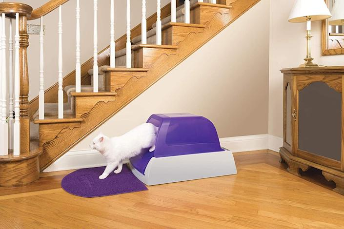 """This automatically removes waste for you, which means you don't have to scoop, clean, or refill it for weeks at a time.Each litter box comes with a pre-portioned package of litter that you pour into the tray. After the tray's sensor detects that your cat has left the box, it will clean the tray in 5, 10, or 20 minutes, depending on which setting you choose. When the tray is full, simply remove it and dispose of it.<br /><br /><strong>Promising review:</strong>""""This is a really great idea for busy people such as myself. I love cats, but not their litter box. This one is really odor-free and<strong>does all the dirty work</strong>. You will love it. I recommend it to all cat lovers It is a time-saver as well."""" —<a href=""""https://www.amazon.com/dp/B000XSC8R2?tag=huffpost-bfsyndication-20&ascsubtag=5834502%2C31%2C46%2Cd%2C0%2C0%2C0%2C962%3A1%3B901%3A2%3B900%3A2%3B974%3A3%3B975%3A2%3B982%3A2%2C16271072%2C0"""" target=""""_blank"""" rel=""""noopener noreferrer"""">Coco</a><br /><br /><strong>Get it from Amazon for<a href=""""https://www.amazon.com/dp/B000XSC8R2?tag=huffpost-bfsyndication-20&ascsubtag=5834502%2C31%2C46%2Cd%2C0%2C0%2C0%2C962%3A1%3B901%3A2%3B900%3A2%3B974%3A3%3B975%3A2%3B982%3A2%2C16271072%2C0"""" target=""""_blank"""" rel=""""noopener noreferrer"""">$169.95</a>(available in two styles and three colors).</strong>"""