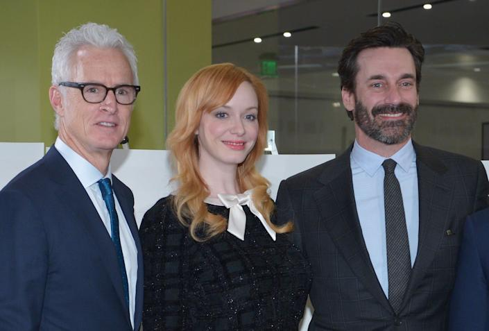 """""""Mad Men"""" will be available for streaming later this month. From left to right: John Slattery, who played the character """"Roger Sterling""""; Christina Hendricks, who played """"Joan Harris""""; and Jon Hamm, who played """"Donald Draper."""" (Photo: MANDEL NGAN via Getty Images)"""