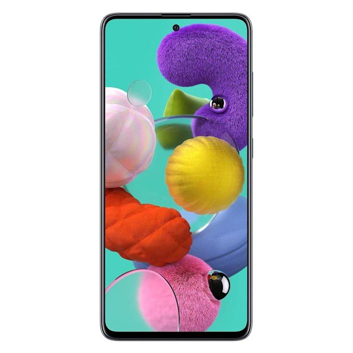 """<p><strong>Samsung</strong></p><p>amazon.com</p><p><strong>$399.99</strong></p><p><a href=""""https://www.amazon.com/dp/B086FKHTLZ?tag=syn-yahoo-20&ascsubtag=%5Bartid%7C10060.g.35226246%5Bsrc%7Cyahoo-us"""" rel=""""nofollow noopener"""" target=""""_blank"""" data-ylk=""""slk:Shop Now"""" class=""""link rapid-noclick-resp"""">Shop Now</a></p><p>Priced below $400, the Galaxy A51 has a large and vibrant Super AMOLED display with a fingerprint sensor underneath, a powerful chipset, impressive front- and rear-facing cameras, and solid battery life. According to a <a href=""""https://www.cnet.com/reviews/galaxy-a51-review-samsung-beats-the-iphone-se-in-these-important-ways-review/"""" rel=""""nofollow noopener"""" target=""""_blank"""" data-ylk=""""slk:CNET"""" class=""""link rapid-noclick-resp"""">CNET</a> editor, """"the A51 is a convincing effort that proves Samsung can make a good midprice phone that's worth buying.""""</p><p>I only wish that it had a more powerful chipset, a waterproof build, as well as built-in stereo speakers. A <a href=""""https://www.pcmag.com/reviews/samsung-galaxy-a51"""" rel=""""nofollow noopener"""" target=""""_blank"""" data-ylk=""""slk:PCMag"""" class=""""link rapid-noclick-resp""""><em>PCMag</em></a> review editor rightfully concluded that the big phone """"has a gorgeous display, good cameras, and a battery that will easily get you through the day, but it can use a boost in the processor department.""""</p><p>But Samsung has equipped the phone with a fun quadruple camera — an impressive feat for a device in this price range. It includes a 48MP sensor, a 12MP one with an ultra wide lens, a 5MP snapper for capturing closeup shots, and a 5MP unit that's tasked with gathering data to enhance your photos. The selfie camera packs a sensor with impressively high resolution as well.</p><p>I really like that the Galaxy A51 has a standard audio jack, as well as a bundled fast charger. A <a href=""""https://www.amazon.com/dp/B08DHPBD4H?tag=syn-yahoo-20&ascsubtag=%5Bartid%7C10060.g.35226246%5Bsrc%7Cyahoo-us"""" rel=""""nofollow noopener"""" target=""""_blank"""" data-"""