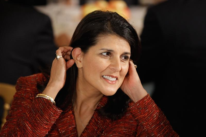 WASHINGTON, DC - FEBRUARY 27:  South Carolina Gov. Nikki Haley (L) attends a meeting of the National Governors Association in the State Dining Room of the White House February 27, 2012 in Washington, DC. The governors will conclude their three-day winter meeting today.  (Photo by Chip Somodevilla/Getty Images)
