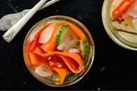 "Jalapeños adds a surprise kick. <a href=""https://www.bonappetit.com/recipe/quick-pickled-cucumbers-carrots-and-shallots?mbid=synd_yahoo_rss"" rel=""nofollow noopener"" target=""_blank"" data-ylk=""slk:See recipe."" class=""link rapid-noclick-resp"">See recipe.</a>"
