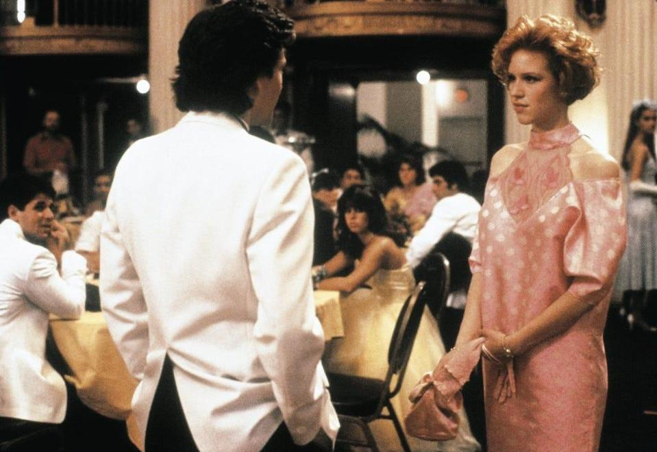 """Andrew McCarthy and Molly Ringwald in the final prom scene of """"Pretty in Pink."""""""