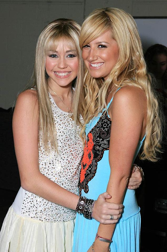 "Back when she was just a tween star, Miley -- in full ""Hannah Montana"" mode -- looked thrilled to be photographed with ""High School Musical's"" Ashley Tisdale at a Radio Disney event in the summer of 2006. No offense to The Tis, but Miley had much bigger things ahead! Alexandra Wyman/<a href=""http://www.wireimage.com"" target=""new"">WireImage.com</a> - July 22, 2006"