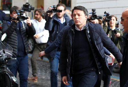 Former Italian Prime Minister Matteo Renzi arrives at a meeting of the ruling Democratic Party in Rome