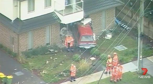 The utility crashed into the Ferntree Gully home. Source: 7News