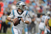 Carolina Panthers quarterback Kyle Allen (7) runs out of the pocket against the Buffalo Bills during the first half an NFL preseason football game, Friday, Aug. 16, 2019, in Charlotte, N.C. (AP Photo/Mike McCarn)