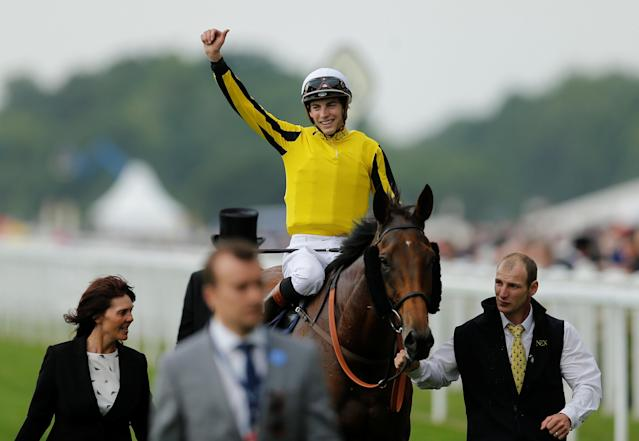 Horse Racing - Royal Ascot - Ascot Racecourse, Ascot, Britain - June 22, 2017 James Doyle celebrates winning the 4.20 Gold Cup on Big Orange Action Images via Reuters/Matthew Childs
