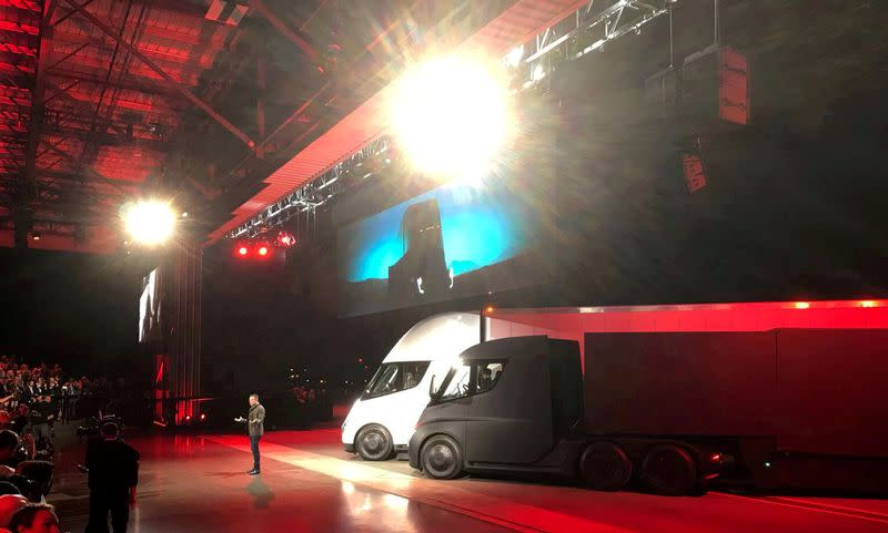 FILE PHOTO: Tesla CEO Musk shows off the Tesla Semi during an presentation in Hawthorne