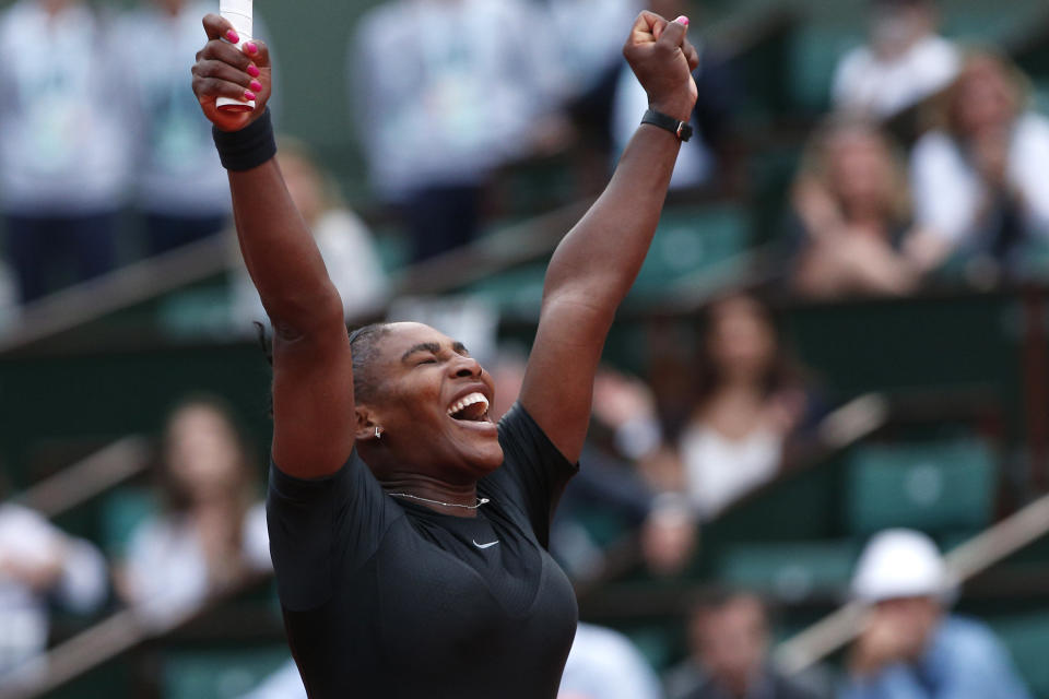Serena Williams was elated when she won her round two match against Ashleigh Barty at the French Open. (AP Photo/Thibault Camus)