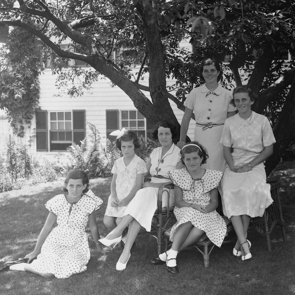 <p>Jean Kennedy (second from left) poses for a portrait with her mother, Rose Kennedy, and her sisters Eunice, Patricia, Rosemary, and Kathleen (known as Kick) in Hyannis, Massachussetts. </p>
