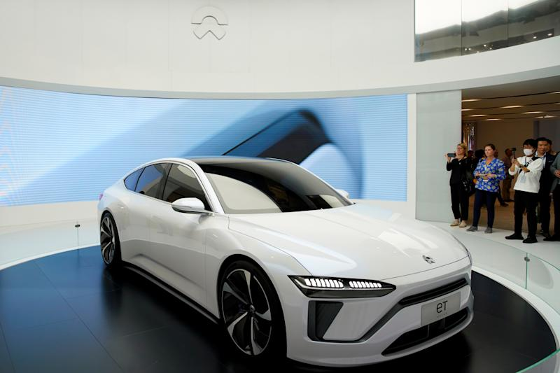 NIO's new electric vehicle (EV) ET7 is unveiled during the media day for Shanghai auto show in Shanghai, China April 16, 2019. REUTERS/Aly Song