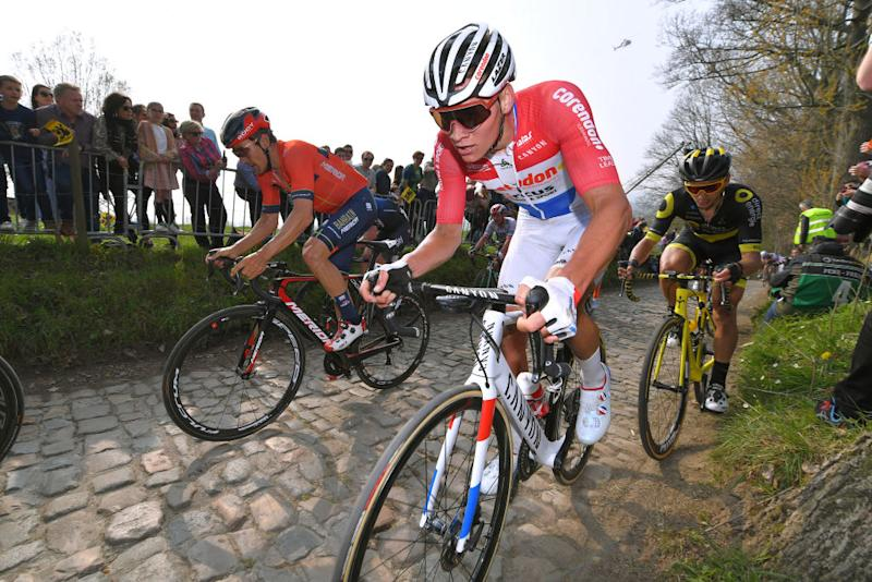 Dutch road race champion Mathieu van der Poel fights his way back to the front after a crash at the 2019 Tour of Flanders