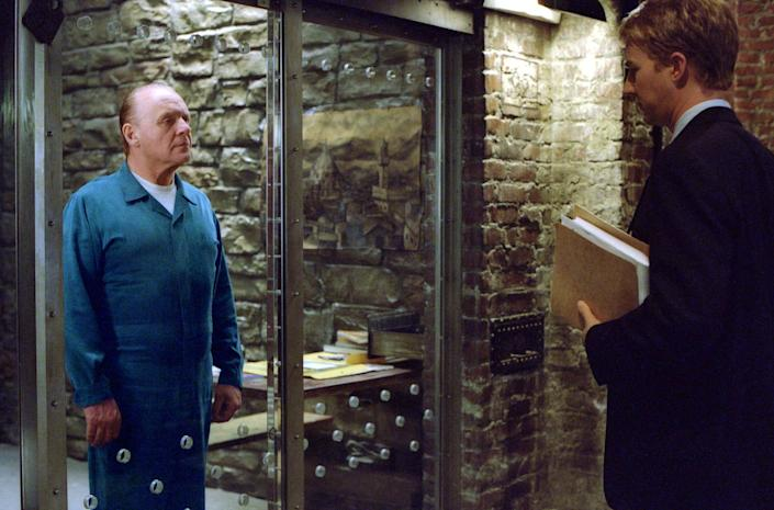 """Will Graham (Edward Norton, right) must face his old nemesis, Dr. Hannibal Lecter (Anthony Hopkins), as he hunts down a serial killer in """"Red Dragon."""""""