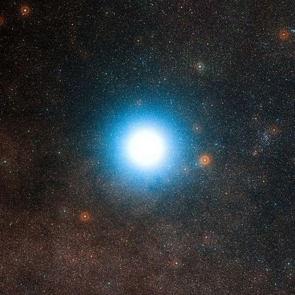 This wide-field view of the sky around the bright star Alpha Centauri was created from photographic images forming part of the Digitized Sky Survey 2. The star appears so big just because of the scattering of light by the telescope's optics as