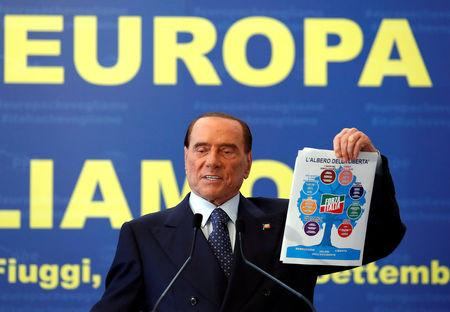 Forza Italia leader Silvio Berlusconi holds the party program during EPP European People's Party meeting in Fiuggi, Italy, September 17, 2017. REUTERS/Remo Casilli