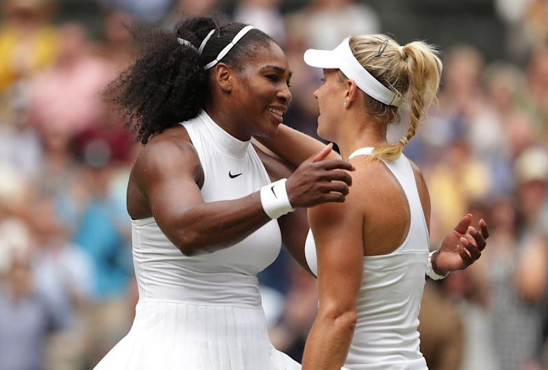 USA's Serena Williams with Germany's Angelique Kerber