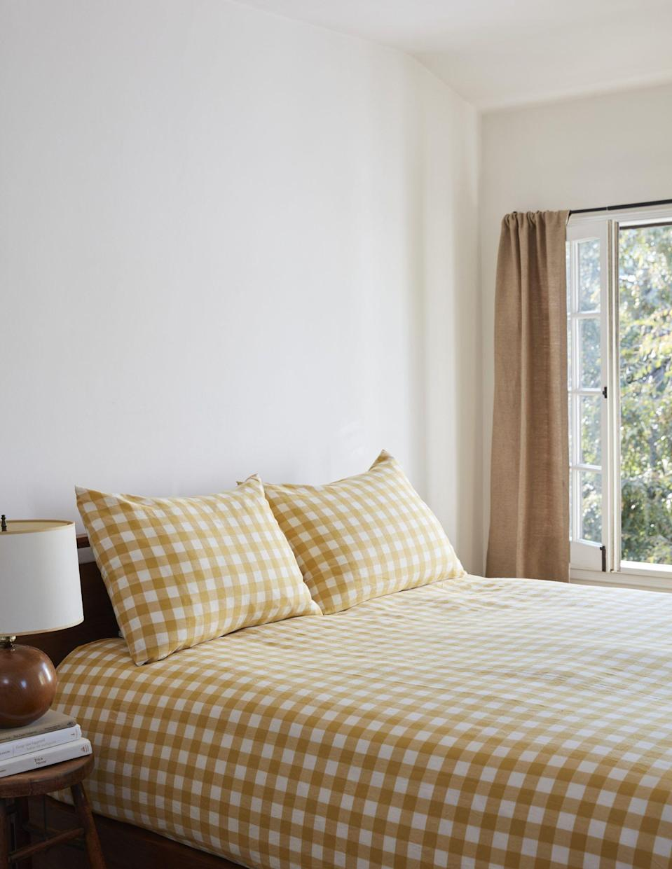 """<p><strong>Heather Taylor Home</strong></p><p>heathertaylorhome.com</p><p><strong>$275.00</strong></p><p><a href=""""https://heathertaylorhome.com/shop/gingham-sunflower-duvet-cover/"""" rel=""""nofollow noopener"""" target=""""_blank"""" data-ylk=""""slk:Shop Now"""" class=""""link rapid-noclick-resp"""">Shop Now</a></p><p>We all want to add a pop of color to our homes, right? This warm, sunny yellow is the way to go—we recommend starting with Heather Taylor Home's new sunflower gingham bedding.</p>"""