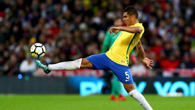 <p>Adding a bit of steel to this midfield is Real Madrid's Casemiro. The defensive midfielder has had a decent career at Real Madrid to say the least. In his three seasons at the Spanish club he has earned three Champions League titles and one La Liga title. </p> <br><p>At the age of 19 Casemiro made his debut for Brazil. Now with 20 caps under his belt, a World Cup winners' medal to add to his collection by age 26 would not be bad indeed.</p>