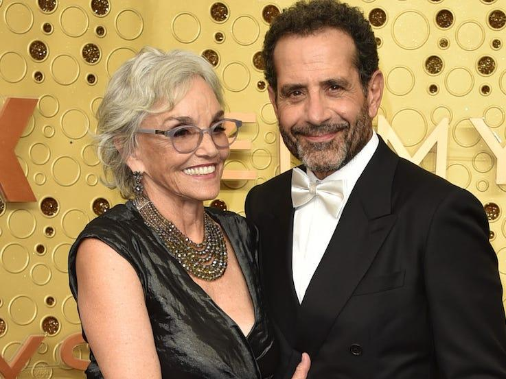 Brooke Adams and Tony Shalhoub attend the 2019 Emmys.