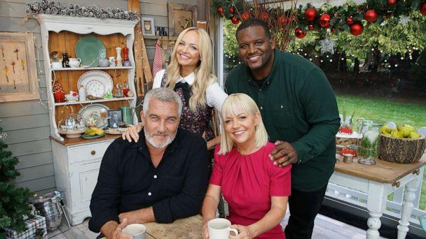 PHOTO: Paul Hollywood, Emma Bunton, Anthony 'Spice' Adams and Sherry Yard appear on 'The Great American Baking Show: Holiday Edition.' (Mark Bourdillon/ABC)