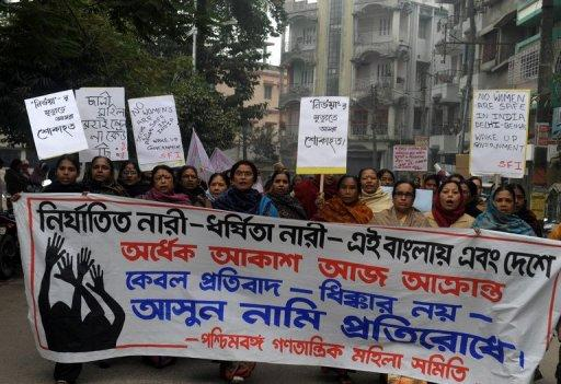 <p>Activists from the women's wing of the Communist Party of India- Marxist, pictured during a protest against the gang rape and murder of a student in the Indian captial, in Siliguri, on January 8, 2013. The case against five Indian men charged with the gang-rape and murder is set to be moved to a fast-track court on Thursday after a lawyer said three of the accused would deny the charges.</p>