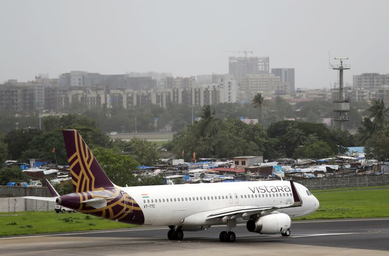 A Vistara Airbus A320 passenger aircraft prepares for takeoff at Chhatrapati Shivaji International airport in Mumbai