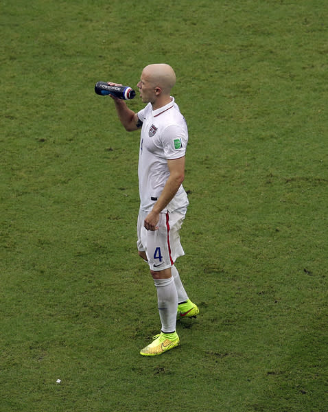 IMAGE DISTRIBUTED FOR TCCC - Michael Bradley of Team USA drinks Powerade during the group G World Cup soccer match between the USA and Germany at the Arena Pernambuco in Recife, Brazil, Thursday, June 26, 2014. (AP Photo/Hassan Ammar)
