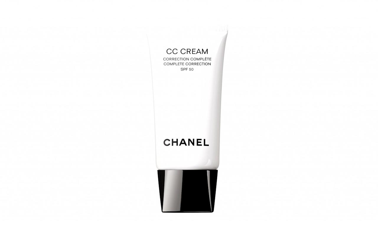 "<p><a rel=""nofollow"" href=""http://www.chanel.com/en_GB/fragrance-beauty/skincare/p/by-category/protection/cc-cream-complete-correction-spf-50-p140840.html#skuid-0140840"">Chanel, £46</a> </p>"