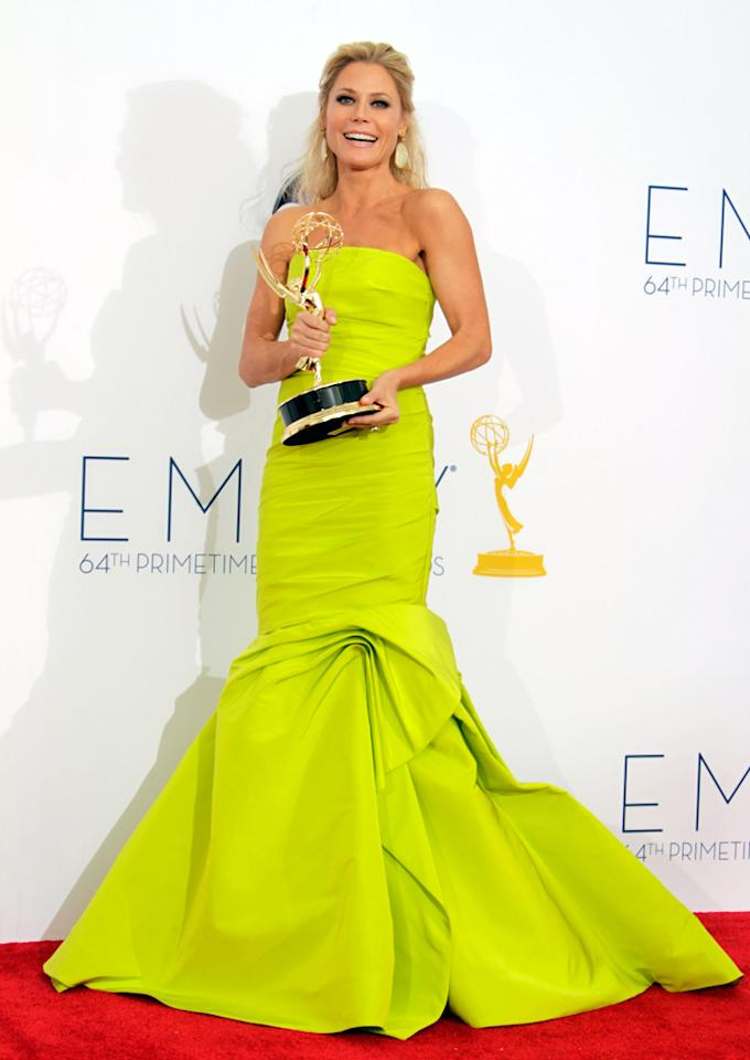 Julie Bowen poses in the press room during the 64th Primetime Emmy Awards at Nokia Theatre L.A. Live on September 23, 2012 in Los Angeles, California.  (Photo by Jeff Vespa/WireImage)