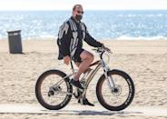 <p>Arnold Schwarzenegger goes for a bike ride through Will Rogers beach on Tuesday in Santa Monica. </p>
