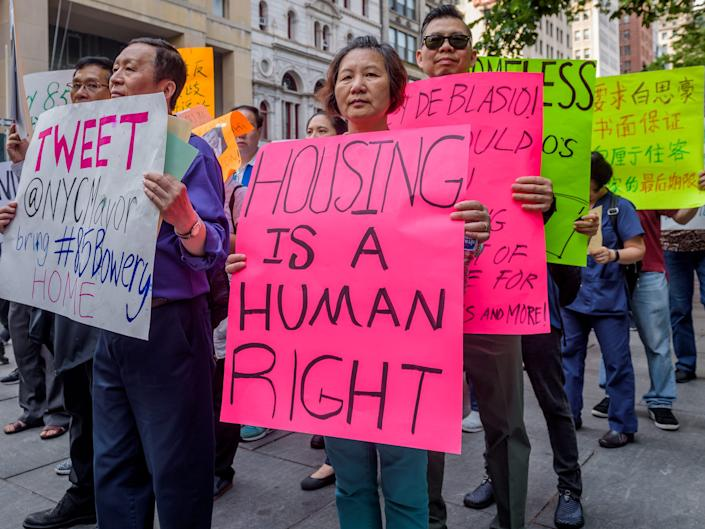 Tenants end a three-day hunger strike outside City Hall, New York City, New York, on June 1, 2018.