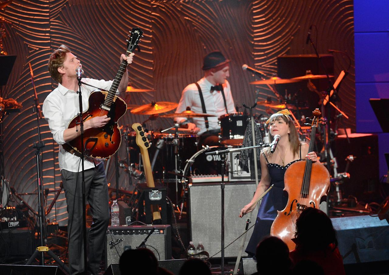 "BEVERLY HILLS, CA - FEBRUARY 09:  (L-R) Musicians Wesley Keith Schultz, Jeremiah Caleb Fraites, and Neyla Pekarek of The Lumineers perform onstage at Clive Davis & The Recording Academy's 2013 Pre-GRAMMY Gala and Salute to Industry Icons honoring Antonio ""L.A."" Reid at The Beverly Hilton Hotel on February 9, 2013 in Beverly Hills, California.  (Photo by Kevork Djansezian/Getty Images)"