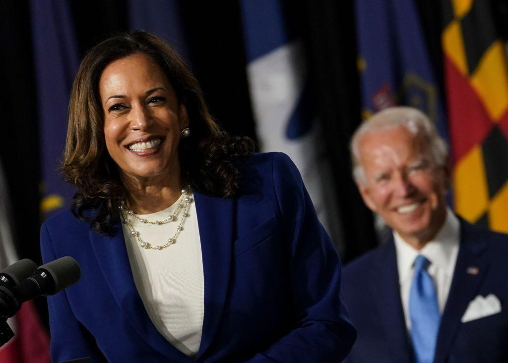 <p>Harris wore her string of power pearls with a Democrat-blue suit, white plain blouse, and cream heels for her and Joe Biden's first Biden-Harris press conference. </p>
