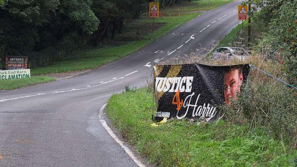 PHOTO: A banner honors Harry Dunn who was struck and killed while riding his motorcycle by a car coming from RAF Croughton airbase, near Brackley, England, Oct. 15, 2019. The drive of the vehicle is the wife of a U.S. diplomat. (Paul Howard/Shutterstock, FILE)