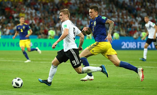 Soccer Football - World Cup - Group F - Germany vs Sweden - Fisht Stadium, Sochi, Russia - June 23, 2018 Sweden's Victor Lindelof in action with Germany's Timo Werner REUTERS/Michael Dalder