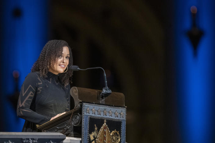 Author Jesmyn Ward speaks during the Celebration of the Life of Toni Morrison, Thursday, Nov. 21, 2019, at the Cathedral of St. John the Divine in New York. Morrison, a Nobel laureate, died in August at 88. (AP Photo/Mary Altaffer)