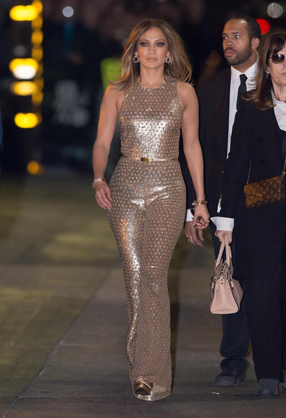 <p>J.Lo is no stranger to a killer jumpsuit. The singer rocked this gold number on <em>Jimmy Kimmel Live</em> in early 2016. (Photo: RB/Bauer-Griffin/GC Images) </p>