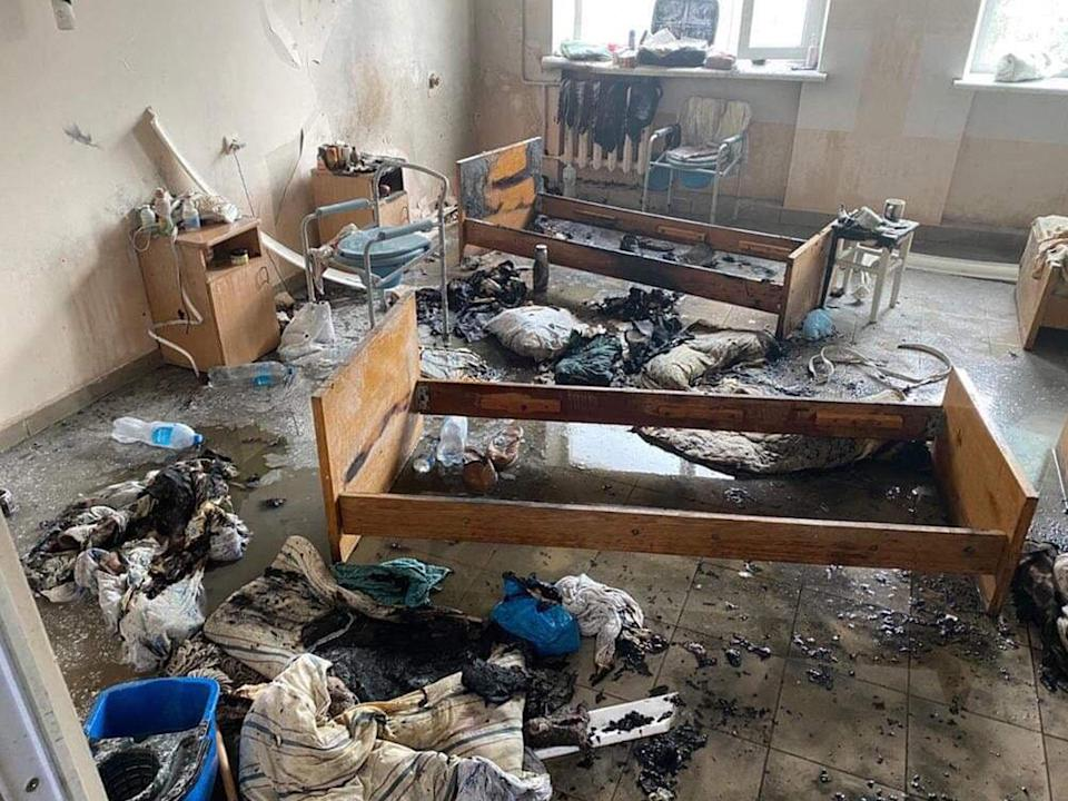 <p>The aftermath of the fire that raged through a hospital ward</p> (AFP via Getty Images)