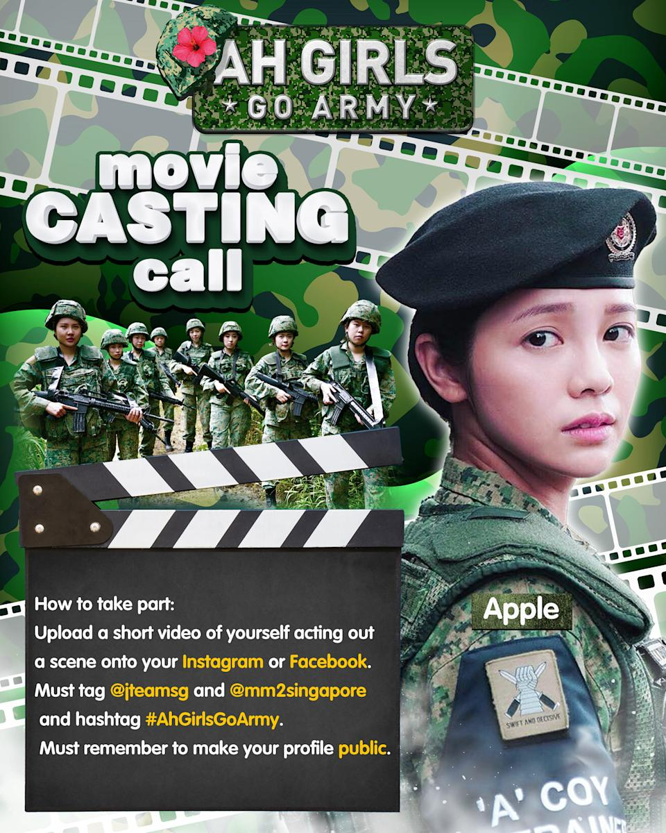 A casting call poster for Singaporean director Jack Neo's film Ah Girls Go Army, slated to be released on 1 February 2022. Apple Chan (pictured) will star in the film, which is expected to shoot in November 2021.