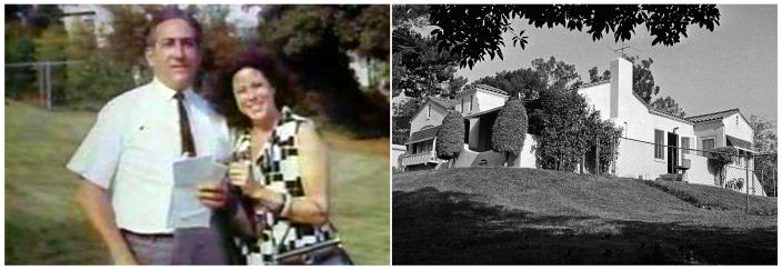 This combination of photos shows Leno and Rosemary LaBianca, left, in an undated photo provided by their daughter, Cory LaBianca, posing outside their home in the Los Feliz area of Los Angeles and at right the same home on Aug. 11, 1969, a day after the couple were found murdered. They had no connection to Sharon Tate or her glamorous friends, but their home was chosen at random by Charles Manson, who tied them up and then, before leaving, ordered his followers to kill them on Aug. 9, 1969. (Cory LaBianca via AP)