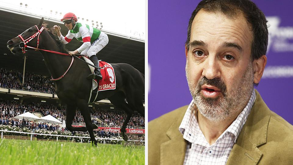 A 50-50 split image shows the winner of the 2019 Cox Plate, Lys Gracieux, on the left, and Victoria's Racing Minister Martin Pakula on the right.