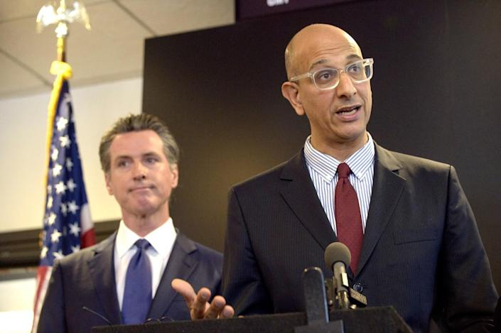 California Health and Human Services Secretary Dr. Mark Ghaly at a news conference in 2020 with Gov. Gavin Newsom.