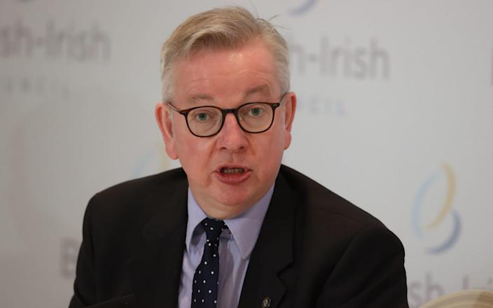 Chancellor of the Duchy of Lancaster Michael Gove during a press conference after the British Irish Council summit - Liam McBurney/PA