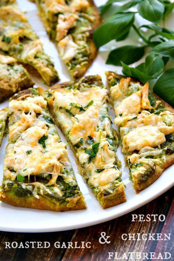 """<p><span>Chicken adds some protein for a more filling meal.</span></p><p><span>Get the recipe at </span><a href=""""http://www.thewickednoodle.com/roasted-garlic-pesto-chicken-flatbreads/#_a5y_p=1941939"""" rel=""""nofollow noopener"""" target=""""_blank"""" data-ylk=""""slk:The Wicked Noodle"""" class=""""link rapid-noclick-resp"""">The Wicked Noodle</a><span>.</span><br></p>"""