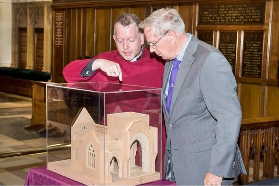 The Very Rev. David Monteith with His Royal Highness the Duke of Gloucester in Leicester Cathedral looking at the model of the space being created for the tomb of King Richard III.