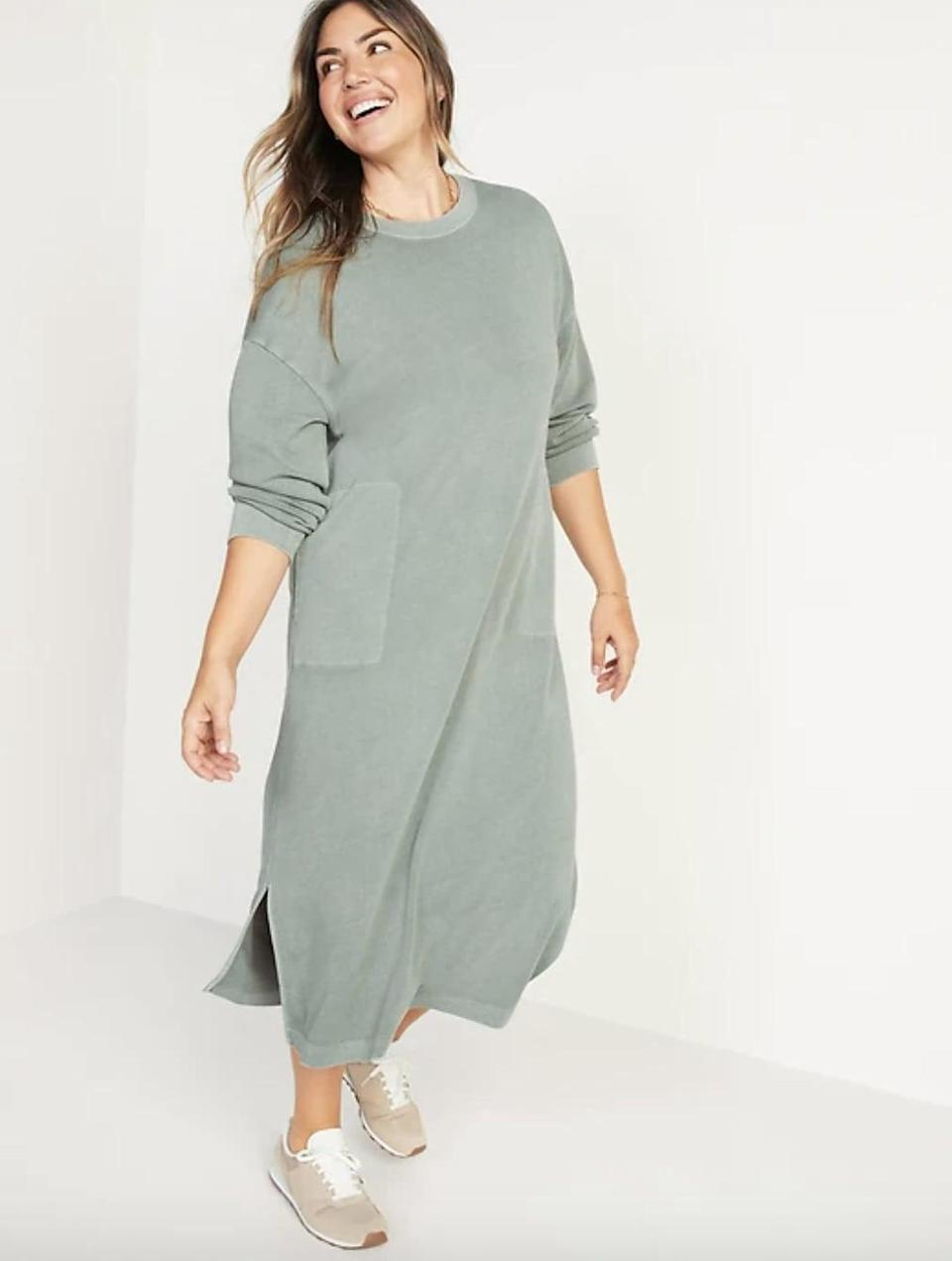 <p>With those massive pockets, it will be hard to pry us out of this <span>Old Navy Long-Sleeve Midi Sweatshirt Shift Dress</span> ($45) while we're working at home on chilly days. It also comes in a dusty-pink shade.</p>